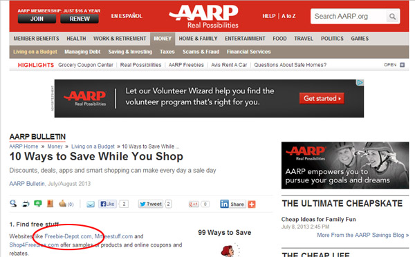 Free Stuff from the AARP
